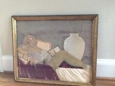 BEAUTIFUL CHARMING RARE ANTIQUE  FRAMED art Deco style Boudoir  COLLAGE of lady