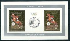GUYANA 1992 HIPICA ORO HB 2v.  BARCELONA 92 ESTADIO OLIMPICO HOJA BLOQUE