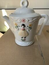 Vintage-Porcelier Vitreous Hand Decor China Teapot w/ Dutch Girl Made In Usa 6�