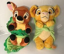"Disney Baby/Babies ""Bambi"" & ""Simba"" with Blanket Plush Doll Toy 11"" H"