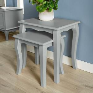 Grey Nest of Tables Side End Occasional Coffee Set of 2 Nested Sculpted Legs