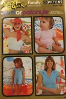PATONS 496 ~ KNIT & CROCHET, SUMMERY PATTERNS FOR WOMEN & CHILDREN *VINTAGE*