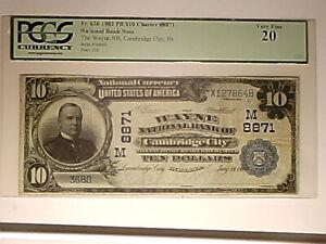 Cambridge City, IN - $10 1902 Plain Back Fr. 626 The Wayne NB Ch. # (M)8871 PCGS