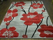 TOP QUALITY NEW 120X170CM APROX 6X4FT RUGS/MAT HAND CARVED POPPY SILVER/RED