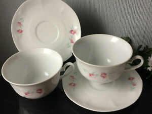 PORISTAL French Tea Coffee Cappucino Cup & Saucer PAIR OF White Floral Porcelain