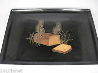 Couroc of Monterey Tray with Loaf of Bread and Wheat Stalks 12.5x18 Mid Century