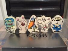 set of vintage 1980s british dangermouse rubbers/erasers set of five