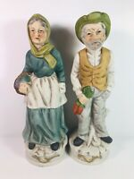 Vintage Set Of Ardco Old Man and Woman Lady Carrot Farmer Figurines Grandparents