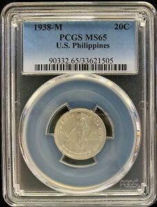 1938M US-Philippines 20 centavos  Silver Coin PCGS MS65 - lot#3