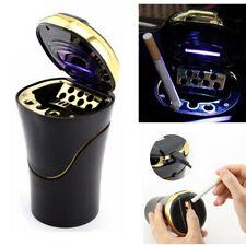 Car Cigarette Cylinder Ashtray Garbage Box with Blue LED Light