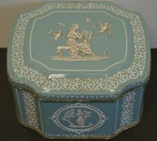 Vintage Tin Blue Biscuit Made in England Greek Goddess Cherub Candy Container Sm