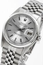 Rolex Mens Datejust Steel Silver Index 18K Gold Fluted Jubilee Quickset 2YR