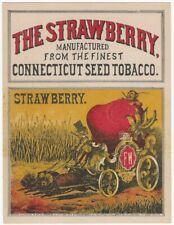 1874 Wambach Printed Strawberry Connecticut Tobacco Label w/Text Mice Pull Wagon