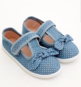 MOTHERCARE Girls Canvas Shoes Toddler Blue Denim Bow Summer Plimsols T-bar Pumps