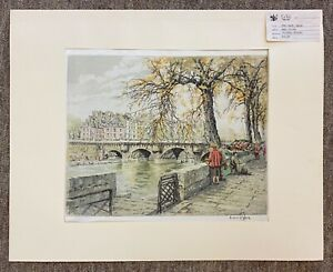 Hans Figura Pencil Signed Original Etching on Silk 'Pont Neuf Paris' 10.25x12.75