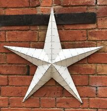 Large Whitewashed Metal Barn Star Rustic Shabby Chic Wall Hanging Decor 52cm