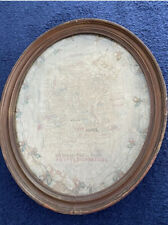 More details for antique embroidered map britain 1810s 1820s georgian framed fanny may gibney old