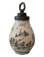 18th Century Pewter mounted German Faience Jug, painted polychrome