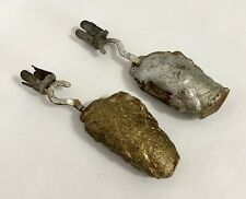 2 Early Antique Victorian Tin Hook Pendulum Weight Xmas Tree Candle Holders