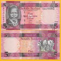 South Sudan 5 Pounds p-11 2015 UNC Banknote