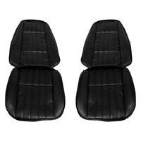 For Chevy Camaro 71-73 Seat Upholstery Front Black Madrid Grain Vinyl w Elk