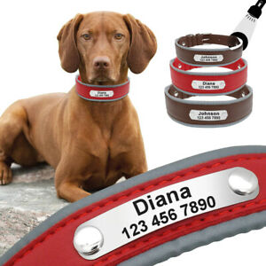 Reflective Leather Dog Personalized Wide Collars Custom Pet Name Tags Engraved