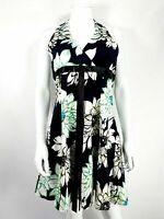 Apricot Sz M Black/ Green/ Yellow Floral Halterneck Dress Fit & Flare Party
