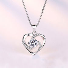 New Heart Stone 925 Sterling Silver Pendant Chain Necklace Womens Jewellery Gift