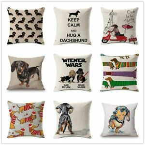 Fashion Colorful Dog Printed Cushion Cover Home Dachshund Decorative Sofa