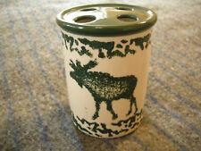 VINTAGE CERAMIC TOOTHBRUSH HOLDER Wildlife Elk Moose Nature Green Ivory 4 holes