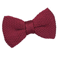 Burgundy Boys Pre-Tied Bow Tie Knit Knitted Plain Formal Necktie by DQT
