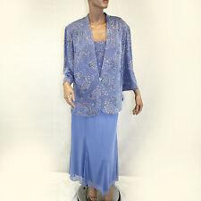 NWT Alex Evenings MOTB Sparkle Paisley Blue Gown 2 Piece Cardigan Dress Set 16W