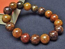 12MM Rare 6A Natural Bronze Golden Rutilated Quartz Round Beads Bracelet BL5415