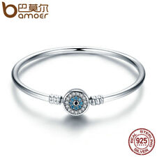 Bamoer .925 Sterling Silver Bangle Bracelet with CZ guard you For Women Jewelry