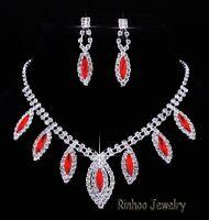 Bridal Ruby Gemstone Crystal Evil Eye Necklace Earrings Wedding Prom Jewelry Set