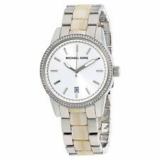 Michael Kors Women's Silver Stainless Steel Horn Acrylic Glitz 37mm Watch MK6371