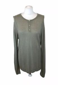 Ted Baker 'Frapp' Jumper Green Button Neck Linen Viscose Sz 12 UK Ladies (3)