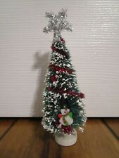 Bottle Brush Christmas Tree Decoration with Snowman Cute 5.5 inches tall