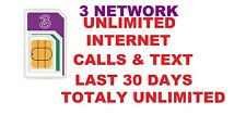 New 3 PAYG 4G Trio SIM Pack Preloaded with Unlimited Data Call Text Three Sizes