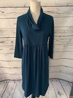 Ma Cherie Maternity Dress Sz M Teal Cowl Neck 3/4 Sleeve Fall Autumn Career Work