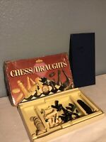 "Vintage ""Chess and Draughts"" combined edition by Spears Games wooden draughtsmen"