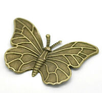 Butterfly Embellishments Pendant Craft Charms Silver Antique Gold 3cm x10