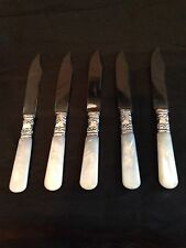 Set of 5 Sterling Silver Fruit Knives Mother-Of-Pearl Handles AMERICAN CUTLERY