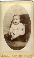 PARIS Martin un bébé joyeux prenant la pose CDV photo circa 1900