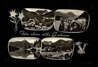 Jachenau Bayern Mehrbildkarte 1958 gelaufen See Berge Straße Brücke Dorf Tal