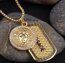 "2017 Hip Hop Jewelry 18 KT Iced Out Medusa Medal & Dogtag with 30"" Franco Chain"