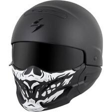 Scorpion Covert Convertible Motorcycle Helmet Matte Black + Skull Mask Medium