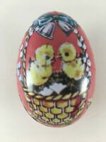 Vintage Easter Egg Metal Tin Candy Container Hong Kong