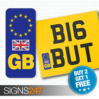 GB NUMBER PLATE STICKER WITH UK FLAG For Motorcycles / Motorbikes EU European