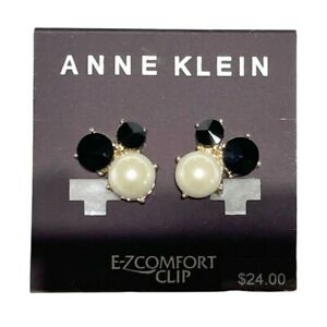 Anne Klein Gold-Tone Stone & Imitation Pearl Cluster Clip-On Stud Earrings NEW